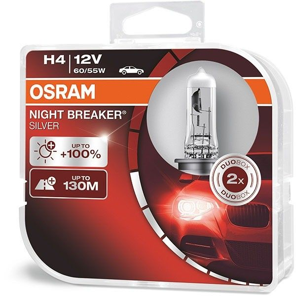 Bec auto OSRAM Night Breaker Silver, 55/60W, 12V, H4, 2 buc