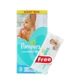 Pampers Active Baby Dry nr.3 5-9 kg 108 buc + servetele cadou