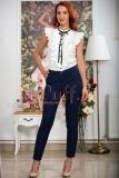 Pantaloni conici bleumarin cu buline mici albe @ inpuff.ro