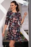 Rochie midi neagra cu imprimeu floral colorat @ inpuff.ro