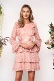 Rochie SunShine roz deschis scurta la starshiners.ro