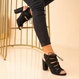 Sandale cu Toc Piele Ecologica Intoarsa Negre Alexxa @ reverse.ro
