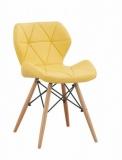 Scaun tapitat cu piele ecologica si picioare de lemn Provence Yellow @ somproduct.ro